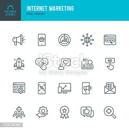 INTERNET MARKETING - thin line vector icon set. 20 linear icon. Pixel perfect. Editable outline stroke. The set contains icons: Online Shopping, Testimonial, Questionnaire, Megaphone, Rocket, Contented Emotion, Digital Marketing.