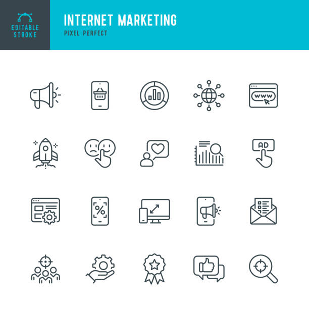 INTERNET MARKETING - Dünnlinien-Vektor-Symbol-Set. Pixel perfekt. Bearbeitbarer Strich. Das Set enthält Symbole: Online Shopping, Testimonial, Fragebogen, Megaphon, Rocket, Contented Emotion. – Vektorgrafik