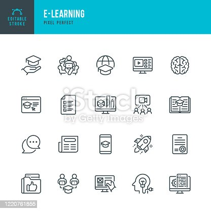 E - LEARNING - thin line vector icon set. 20 linear icon. Pixel perfect. Editable outline stroke. The set contains icons: E-Learning, Educational Exam, Rocket, Brain, Book, Portfolio, Certificate.