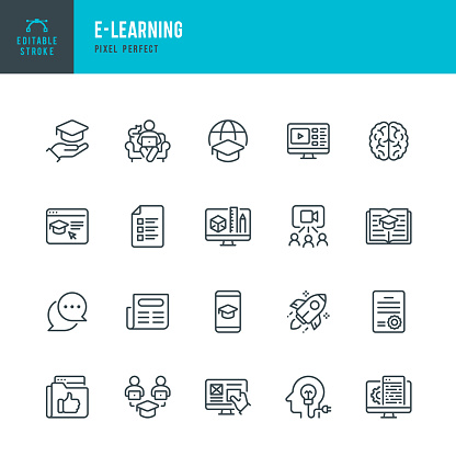E - LEARNING - thin line vector icon set. Pixel perfect. Editable stroke. The set contains icons: E-Learning, Educational Exam, Rocket, Brain, Book.