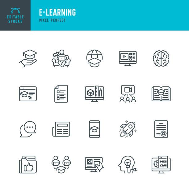 bildbanksillustrationer, clip art samt tecknat material och ikoner med e - learning - tunn linje vektor ikonuppsättning. pixel perfekt. redigerbar linje. uppsättningen innehåller ikoner: e-learning, educational exam, rocket, brain, book. - digital device classroom