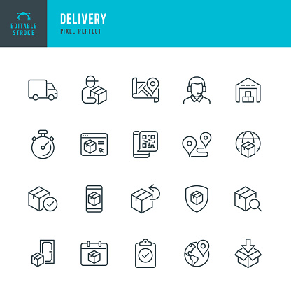 DELIVERY - thin line vector icon set. 20 linear icon. Pixel perfect. Editable outline stroke. The set contains icons: Delivery, Delivery Person, Package, Delivery Truck, Product Return, Warehouse, Support.