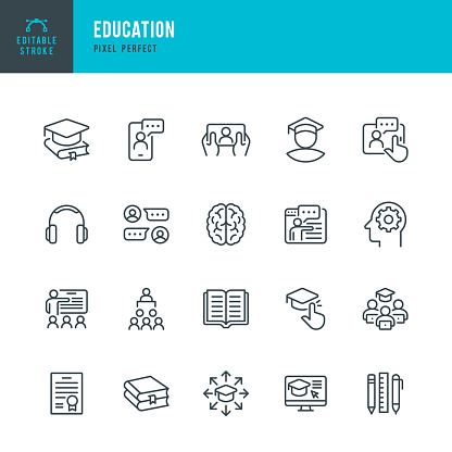 EDUCATION - thin line vector icon set. 20 linear icon. Pixel perfect. Editable outline stroke. The set contains icons: E-Learning, Education, Home Schooling, Classroom, Brain, Diploma, Social Distancing, Web Conference.