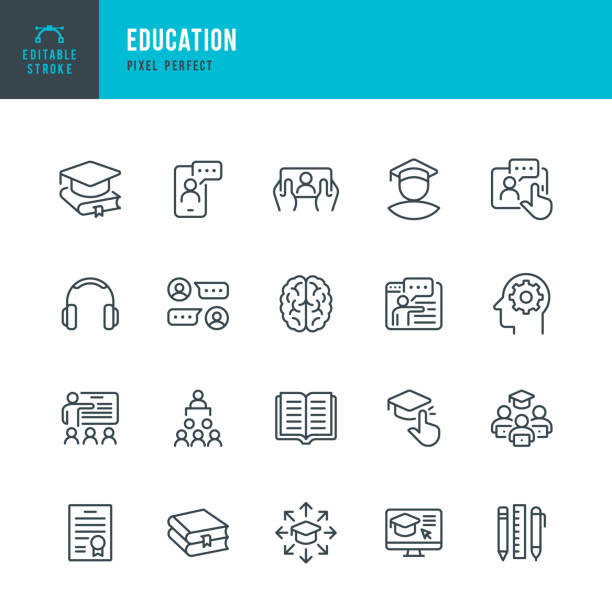 EDUCATION - thin line vector icon set. Pixel perfect. Editable stroke. The set contains icons: E-Learning, Education, Home Schooling, Classroom, Diploma, Social Distancing, Web Conference. EDUCATION - thin line vector icon set. 20 linear icon. Pixel perfect. Editable outline stroke. The set contains icons: E-Learning, Education, Home Schooling, Classroom, Brain, Diploma, Social Distancing, Web Conference. book icons stock illustrations