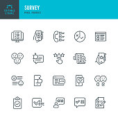 SURVEY - thin line vector icon set. 20 linear icon. Pixel perfect. Editable outline stroke. The set contains icons: Questionnaire, Survey, Feedback, Rating, Customer Satisfaction,  Examining, Voting.