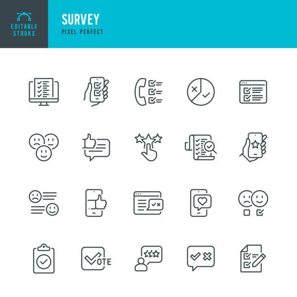 ilustrações, clipart, desenhos animados e ícones de survey - conjunto de ícones vetoriais de linha fina. pixel perfeito. golpe editável. o conjunto contém ícones: questionário, pesquisa, feedback, classificação, satisfação do cliente, examinação, votação. - feedback