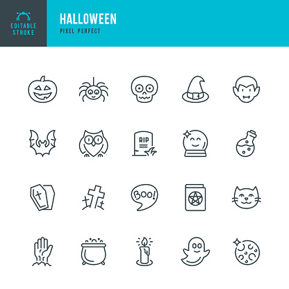 HALLOWEEN - thin line vector icon set. 20 linear icon. Pixel perfect. Editable outline stroke. The set contains icons: Halloween, Pumpkin, Vampire, Cemetery, Skull, Ghost, Potion, Spider, Zombie Hand.