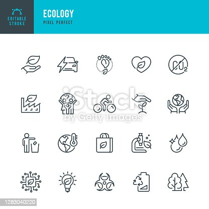 ECOLOGY - thin line vector icon set. 20 linear icon. Pixel perfect. Editable outline stroke. The set contains icons: Ecology, Climate Change, Environmental Conservation, Alternative Energy, Green Technology.