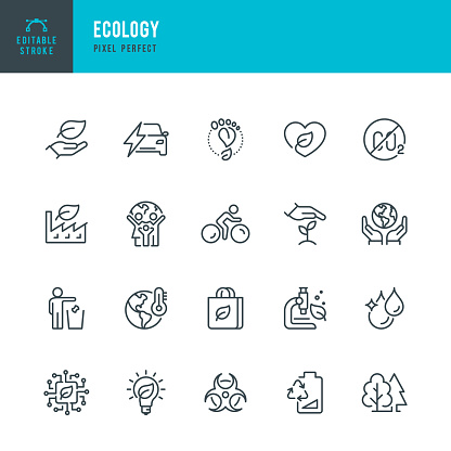 ECOLOGY - thin line vector icon set. Pixel perfect. Editable stroke. The set contains icons: Ecology, Climate Change, Environmental Conservation, Alternative Energy, Green Technology.