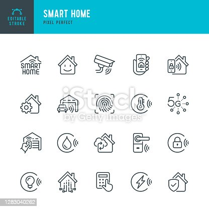 SMART HOME - thin line vector icon set. 20 linear icon. Pixel perfect. Editable outline stroke. The set contains icons: Smart Home, Ecosystem, Remote Control, Wireless Technology, Security System, Internet of Things, Keyless Access, Energy Efficient.