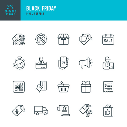 BLACK FRIDAY - thin line vector icon set. 20 linear icon. Pixel perfect. Editable outline stroke. The set contains icons: Black Friday, Shopping, Best Price, Discounts, Best Seller, Gift, Delivery.