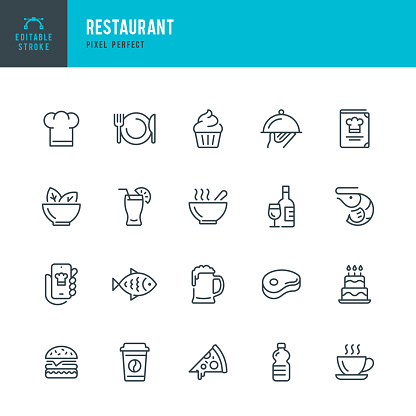 RESTAURANT - thin line vector icon set. Pixel perfect. Editable stroke. The set contains icons: Restaurant, Pizza, Burger, Meat, Fish, Seafood, Vegetarian Food, Salad, Coffee, Dessert, Soup, Beer, Alcohol.