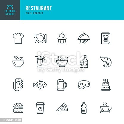 RESTAURANT - thin line vector icon set. 20 linear icon. Pixel perfect. Editable outline stroke. The set contains icons: Restaurant, Pizza, Burger, Meat, Fish, Seafood, Vegetarian Food, Salad, Coffee, Dessert, Soup, Beer, Alcohol.