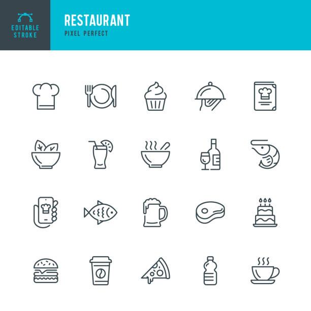 restauracja - zestaw ikon wektorowych cienkich linii. piksel idealny. edytowalne obrys. zestaw zawiera ikony: restauracja, pizza, burger, mięso, ryby, owoce morza, kuchnia wegetariańska, sałatka, kawa, deser, zupa, piwo, alkohol. - kuchnia stock illustrations