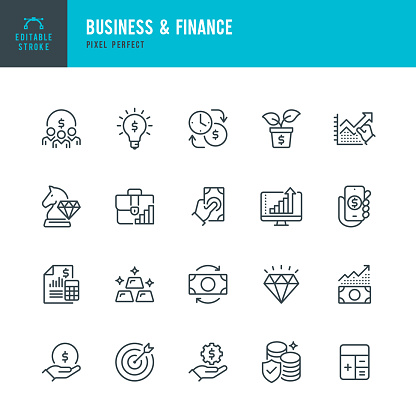 BUSINESS & FINANCE - thin line vector icon set. 20 linear icon. Pixel perfect. Editable outline stroke. The set contains icons: Investment, Wealth Growth, Gold, Business Strategy, Target, Wealth Insurance, Diamond.