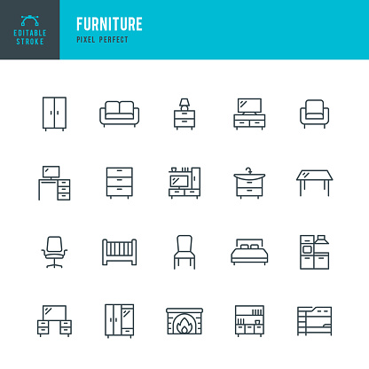 FURNITURE - thin line vector icon set. 20 linear icon. Pixel perfect. Editable outline stroke. The set contains icons: Living Room, Bed, Desk, Chair, Kitchen, Dining Table, Sofa, Office Chair, Closet, Bookshelf, Armchair, Crib.