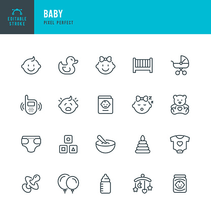 BABY - thin line vector icon set. 20 linear icon. Pixel perfect. Editable outline stroke. The set contains icons: Child, Baby Boys, Baby Girls, Baby Carriage, Baby Food, Baby Bottle, Rubber Duck, Baby Clothing, Crib, Diaper.