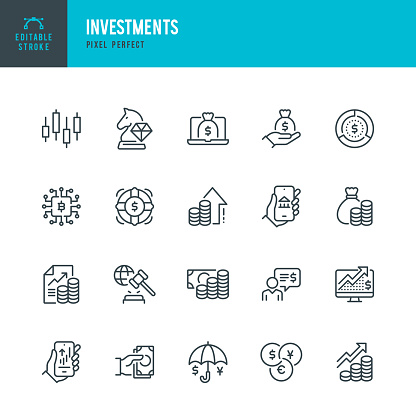 INVESTMENTS - thin line vector icon set. 20 linear icon. Pixel perfect. Editable outline stroke. The set contains icons: Business Strategy, Investment, Stock Market, Profit Growth, Loan, Wealth, Financial Advisor, Cryptocurrency, Currency Exchange.