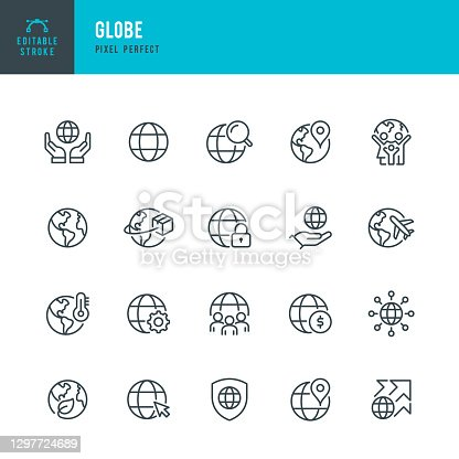 GLOBE - thin line vector icon set. 20 linear icon. Pixel perfect. Editable outline stroke. The set contains icons: Planet Earth, Globe, Global Business, Climate Change, Delivering, Travel, Environmental Conservation, Shipping.