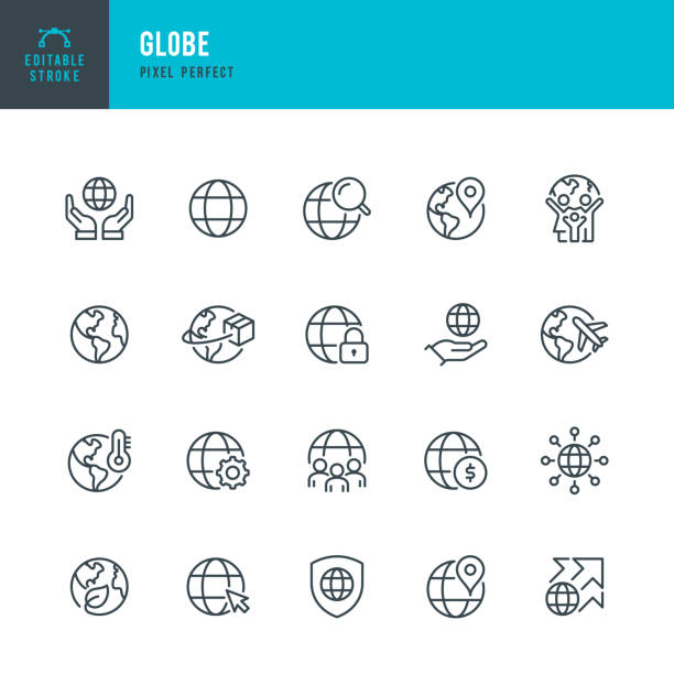 GLOBE - thin line vector icon set. Pixel perfect. Editable stroke. The set contains icons: Planet Earth, Globe, Global Business, Climate Change, Delivering, Travel, Environmental Conservation, Shipping. GLOBE - thin line vector icon set. 20 linear icon. Pixel perfect. Editable outline stroke. The set contains icons: Planet Earth, Globe, Global Business, Climate Change, Delivering, Travel, Environmental Conservation, Shipping. global stock illustrations