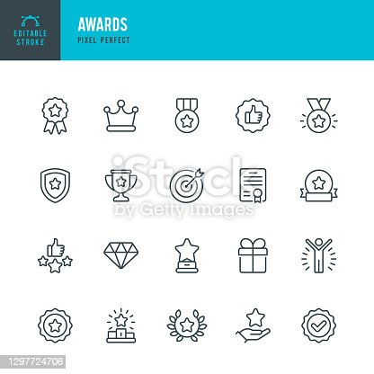 istock AWARDS - thin line vector icon set. Pixel perfect. Editable stroke. The set contains icons: Award, First Place, Winners Podium, Leadership, Certificate, Laurel Wreath, Medal, Trophy, Gift. 1297724706