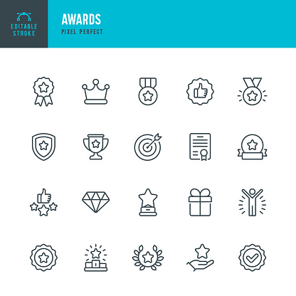 AWARDS - thin line vector icon set. Pixel perfect. Editable stroke. The set contains icons: Award, First Place, Winners Podium, Leadership, Certificate, Laurel Wreath, Medal, Trophy, Gift.