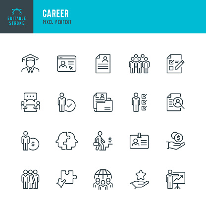 CAREER - thin line vector icon set. 20 linear icon. Pixel perfect. Editable outline stroke. The set contains icons: Teamwork, Ladder of Success, Global Business, Resume, Human Resources, Career Growth, Salary, Presentation, Education.