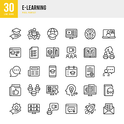 E-LEARNING - thin line vector icon set. Pixel perfect. The set contains icons: E-Learning, Educational Exam, Rocket, Brain, Book.