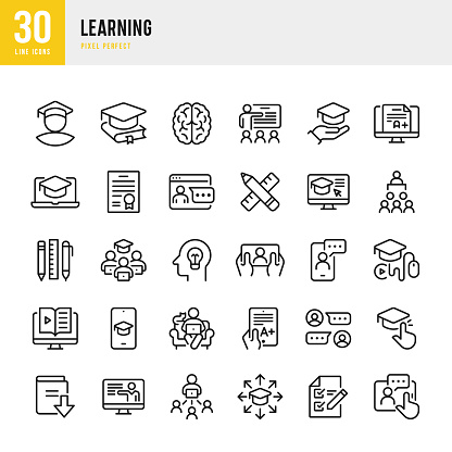 LEARNING - thin line vector icon set. Pixel perfect. The set contains icons: E-Learning, Educational Exam, Student, Home Schooling, Brain, Download Book, Portfolio, Certificate, Graduation.