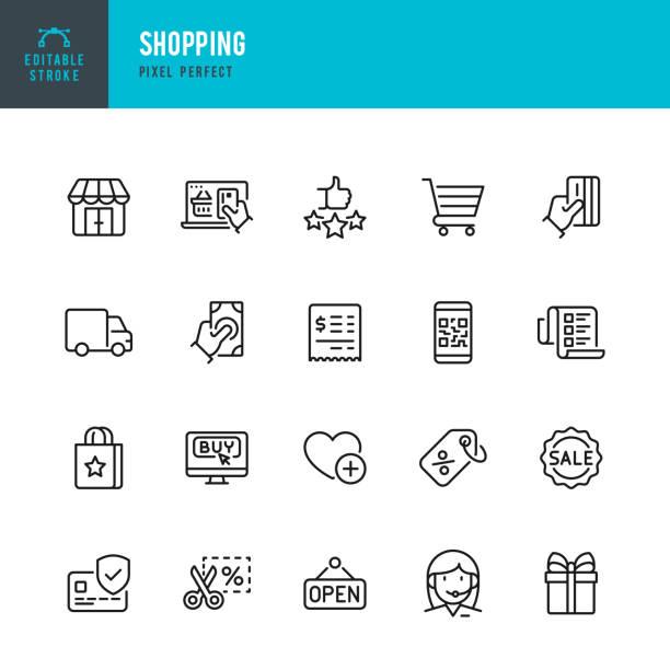 SHOPPING - Dünnlinien-Vektor-Symbol gesetzt. Pixel perfekt. Das Set enthält Symbole: Open Sign, Kreditkartenkauf, Warenkorb, Lieferwagen, Preisschild, Geschenk, Support. – Vektorgrafik