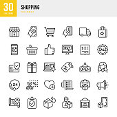 SHOPPING - thin line vector icon set. 30 linear icon. Pixel perfect. The set contains icons: Store, Credit Card Purchase, Shopping Cart, Delivery Van, Coupon, Price Tag, Gift, Support, Open Sign, Home Delivery, Warehouse.