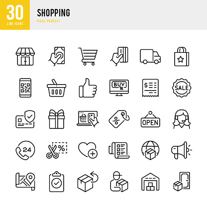 SHOPPING - thin line vector icon set. Pixel perfect. The set contains icons: Open Sign, Credit Card Purchase, Store, Shopping Cart, Delivery Van, Price Tag, Gift, Support, Warehouse.