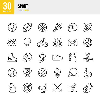 SPORT - thin line vector icon set. Pixel perfect. The set contains icons: Soccer, Boxing, Basketball, Golf, Swimming, American Football, Tennis, Ice Hockey.