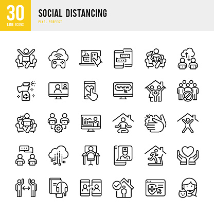 SOCIAL DISTANCING - thin line vector icon set. Pixel perfect. The set contains icons: Social Distancing, Remote Work, Quarantine, Video Conference, Working At Home, E-Learning, Sports Training, Telemedicine.