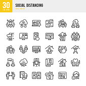 SOCIAL DISTANCING - thin line vector icon set. 30 linear icon. Pixel perfect. The set contains icons: Social Distancing, Remote Work, Quarantine, Video Conference, Working At Home, E-Learning, Sports Training, Telemedicine.