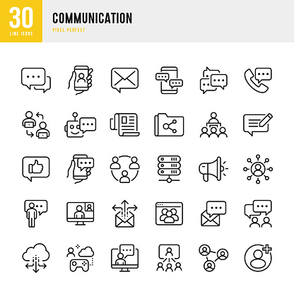 COMMUNICATION - thin line vector icon set. Pixel perfect. The set contains icons: Speech Bubble, Communication, Application Form, Contact Us, Blogging, E-Mail, Telephone, Community.