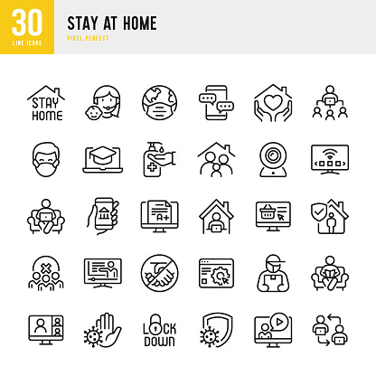 STAY AT HOME - thin line vector icon set. Pixel perfect. The set contains icons: Stay at Home, Social Distancing, Quarantine, Video Conference, Working At Home, E-Learning.