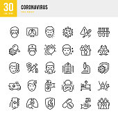 CORONAVIRUS - thin line vector icon set. 30 linear icon. Pixel perfect. The set contains icons: Coronavirus, Virus, Sneezing, Coughing, Doctor, Fever, Quarantine, Headache, Cold And Flu, Face Mask, Washing Hands, Vaccination.