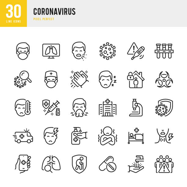 coronavirus - набор векторных векторов тонкой линии. пиксель совершенен. набор содержит значки: коронавирус, чихание, кашель, врач, лихорадка, кар� - болезнь stock illustrations