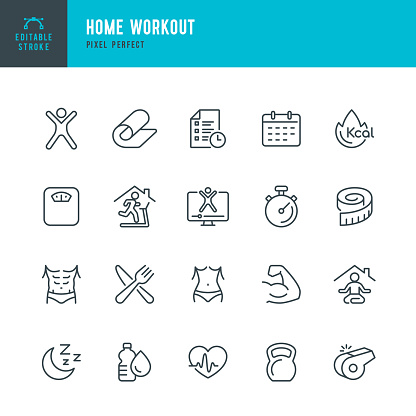 HOME WORKOUT - thin line vector icon set. 20 linear icon. Pixel perfect. Editable outline stroke. The set contains icons: Running, Weight Training, Yoga, Treadmill, Exercising, Weightlifting, Online Training.