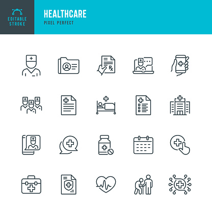 HEALTHCARE - thin line vector icon set. Pixel perfect. The set contains icons: Telemedicine, Doctor, Senior Adult Assistance, Pill Bottle, First Aid, Medical Exam, Medical Insurance. clipart