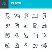 HEALTHCARE - thin line vector icon set. 20 linear icon. Pixel perfect. Editable outline stroke. The set contains icons: Telemedicine, Doctor, Senior Adult Assistance, Prescription, Pill Bottle, First Aid, Medical Exam, Medical Insurance.