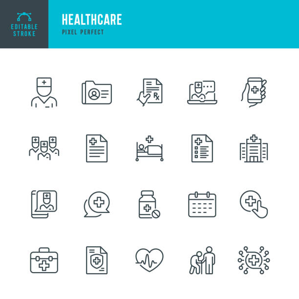 HEALTHCARE - thin line vector icon set. Pixel perfect. The set contains icons: Telemedicine, Doctor, Senior Adult Assistance, Pill Bottle, First Aid, Medical Exam, Medical Insurance. HEALTHCARE - thin line vector icon set. 20 linear icon. Pixel perfect. Editable outline stroke. The set contains icons: Telemedicine, Doctor, Senior Adult Assistance, Prescription, Pill Bottle, First Aid, Medical Exam, Medical Insurance. medical stock illustrations