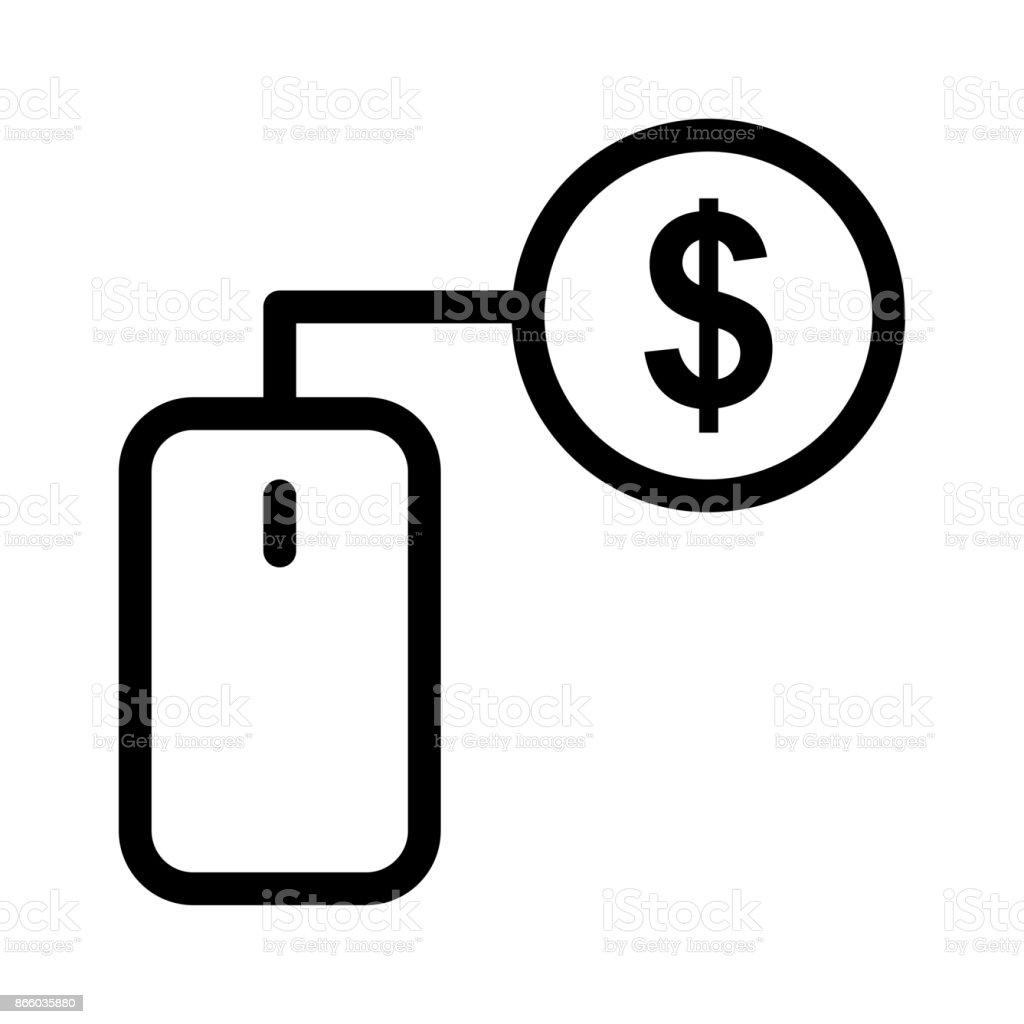 PAY PER CLICK Thin Line Vector Icon vector art illustration
