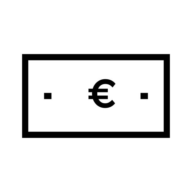 EURO monnaie fine ligne Vector Icon - Illustration vectorielle