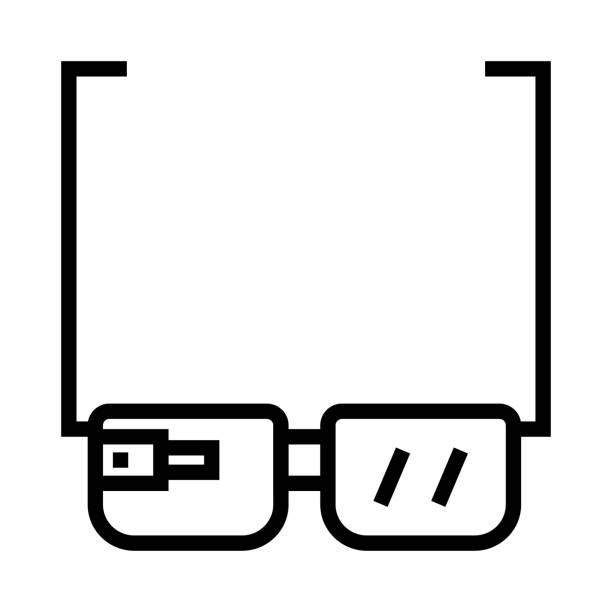 google gözlük ince çizgi vektör simgesi - google stock illustrations