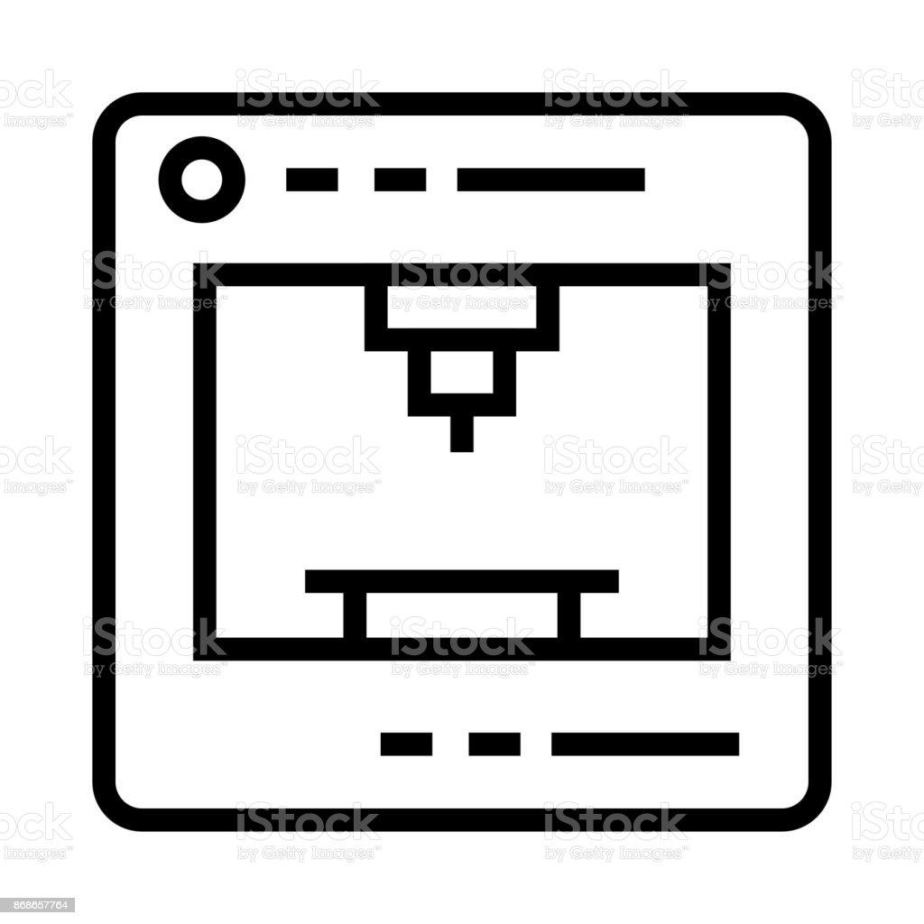 3D PRINTER Thin Line Vector Icon 3D PRINTER Thin Line Vector Icon 3D Printing stock vector