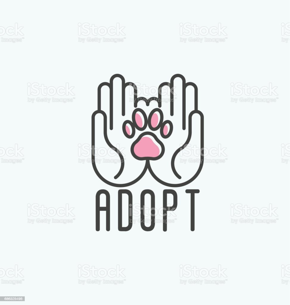 Thin line vector illustration of adopt a pet banner, new owner, domestic animal farm, hotel. Human hands with paw inside. vector art illustration