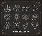 Thin line vector zodiacal symbols. Isolated on dark.
