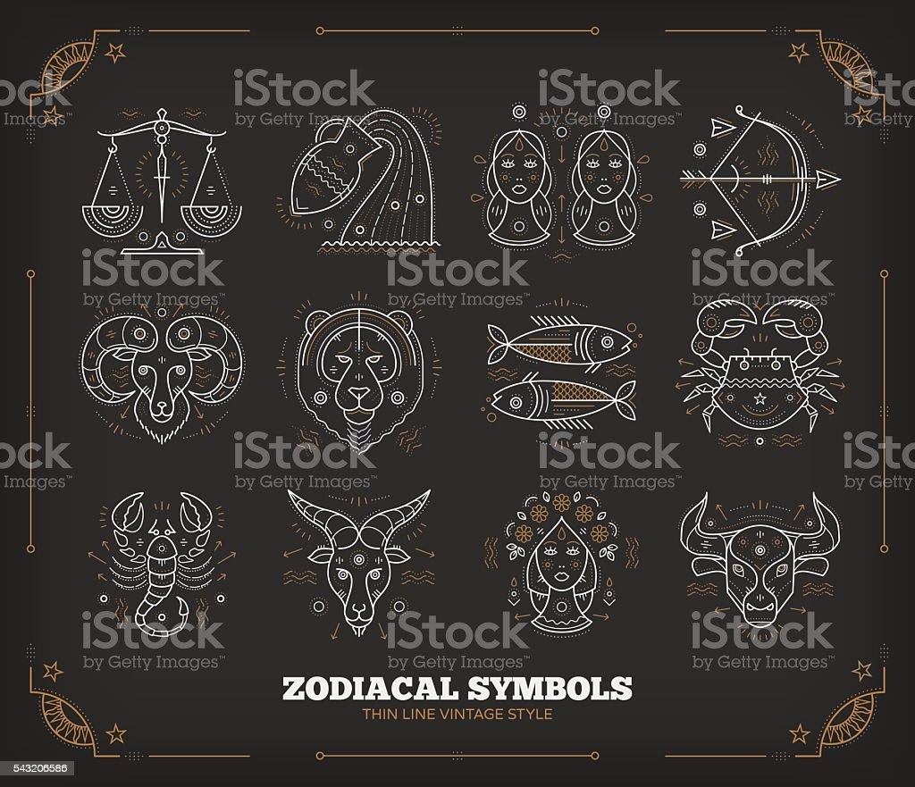 Thin line vector zodiacal symbols. Isolated on dark. vector art illustration